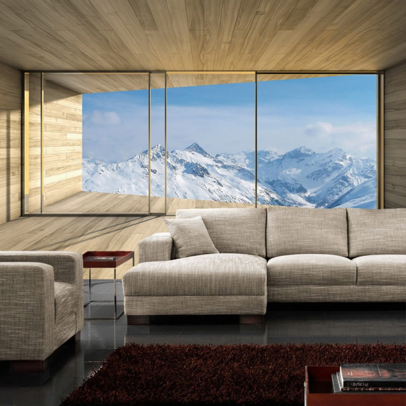 vlies fototapete no 1894 vliestapete liwwing r landschaft tapete holz raum ausblick berge. Black Bedroom Furniture Sets. Home Design Ideas