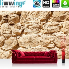 "Vlies Fototapete ""Rock Stone Wall"" | Steinwand Tapete Steinoptik Steine Wand Wall beige"