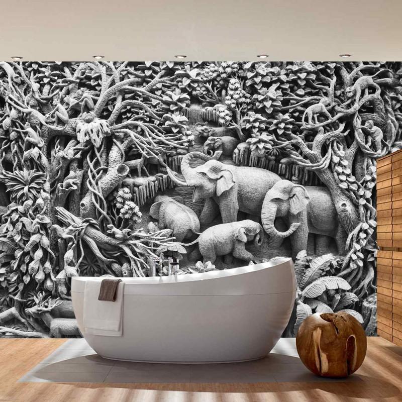 vlies fototapete no 1909 vliestapete liwwing r 3d tapete kunst wald dschungel tiere palmen. Black Bedroom Furniture Sets. Home Design Ideas