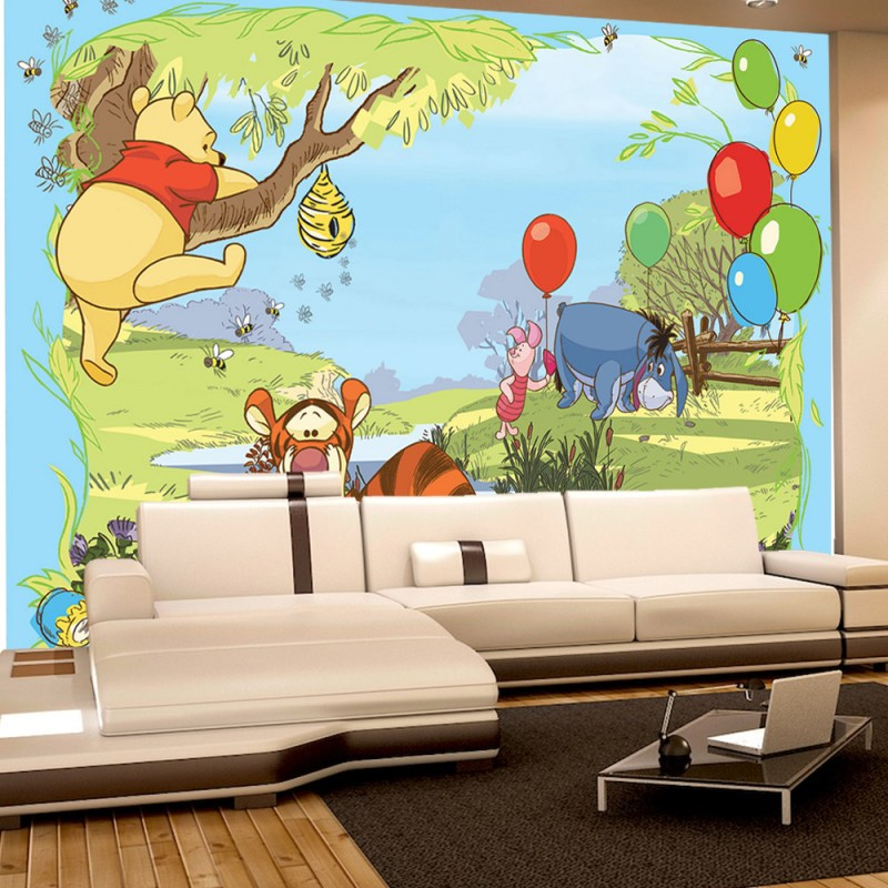vlies fototapete no 1924 disney tapete winnie puuh kindertapete cartoon tigger winnie pooh. Black Bedroom Furniture Sets. Home Design Ideas