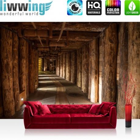 "Vlies Fototapete ""Salt Mine"" | Berge Tapete Salzbergwerk Holz Bergwerk Stollen Untertage rustikal Balken 3D Tunnel braun"