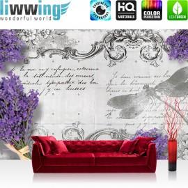 "Vlies Fototapete ""no. 1958"" | Schriftkunst Tapete Schriftzug Lavendel Pflanze Style grau | liwwing (R)"