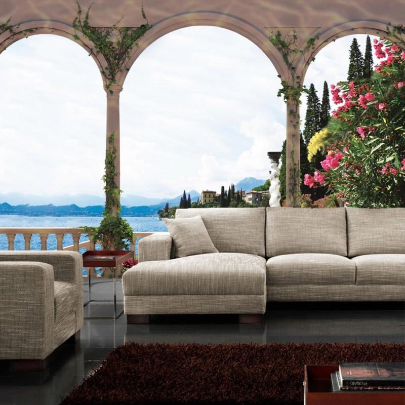 vlies fototapete no 1969 vliestapete liwwing r landschaft tapete terrasse balkon bogen meer. Black Bedroom Furniture Sets. Home Design Ideas