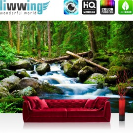 "Vlies Fototapete ""Waterfall Woods "" | Wald Tapete Wasserfall Natur Baum grün"