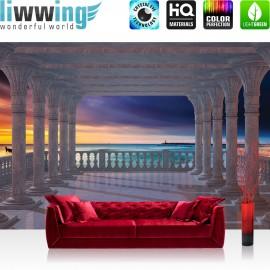 "Vlies Fototapete ""no. 1977"" | Sonnenuntergang Tapete Terrasse Balkon Säulen Meer Strand Sonnenuntergang blau | liwwing (R)"