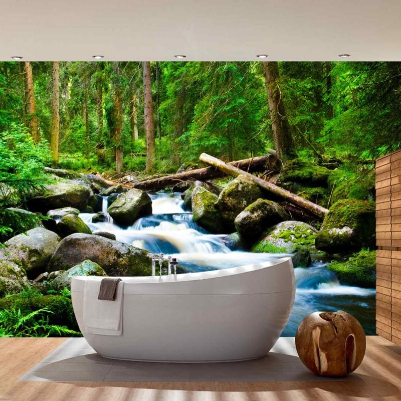 vlies fototapete waterfall woods wald tapete wasserfall natur baum gr n. Black Bedroom Furniture Sets. Home Design Ideas