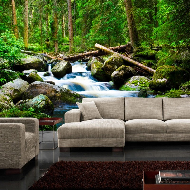 vlies fototapete waterfall woods wald tapete. Black Bedroom Furniture Sets. Home Design Ideas