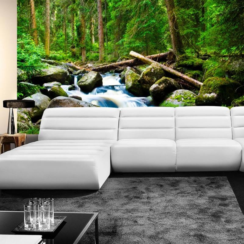 vlies fototapete waterfall woods wald tapete. Black Bedroom Furniture Sets. Home Design Ideas