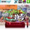 PREMIUM Fototapete - no. 32 | Graffiti Stone Wall | Kinderzimmer Graffiti Streetart Graffitti 3D