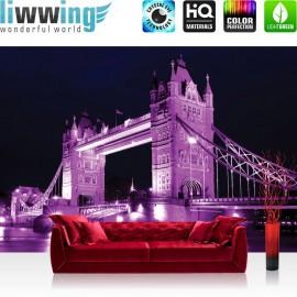 "Vlies Fototapete ""no. 1997""   London Tapete Brücke Sehenswürdigkeit England Türme lila   liwwing (R)"