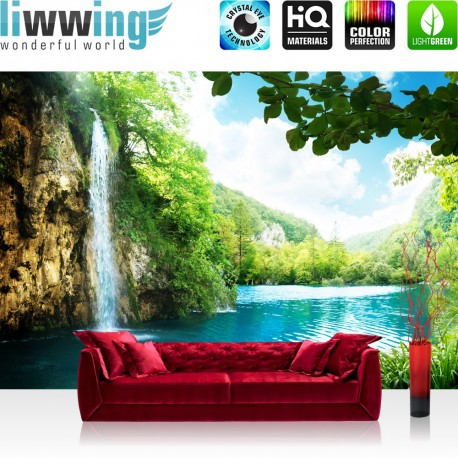 "Vlies Fototapete ""Waterfall in Paradise"" | Berge Tapete Wasserfall Lagune Paradies See Wald Bäume Landschaft grün"