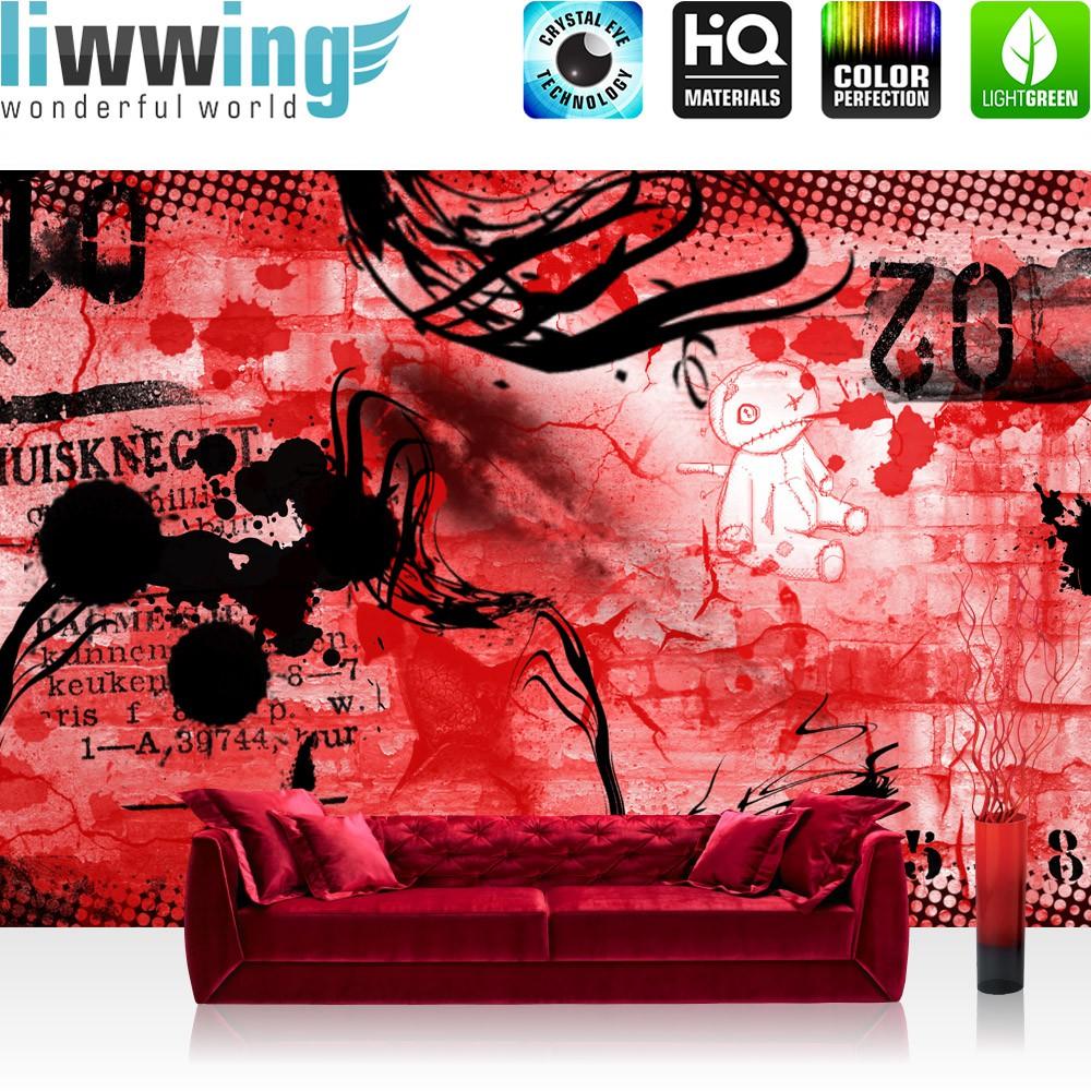 "vlies fototapete ""red graffiti wall"" | kindertapete tapete"