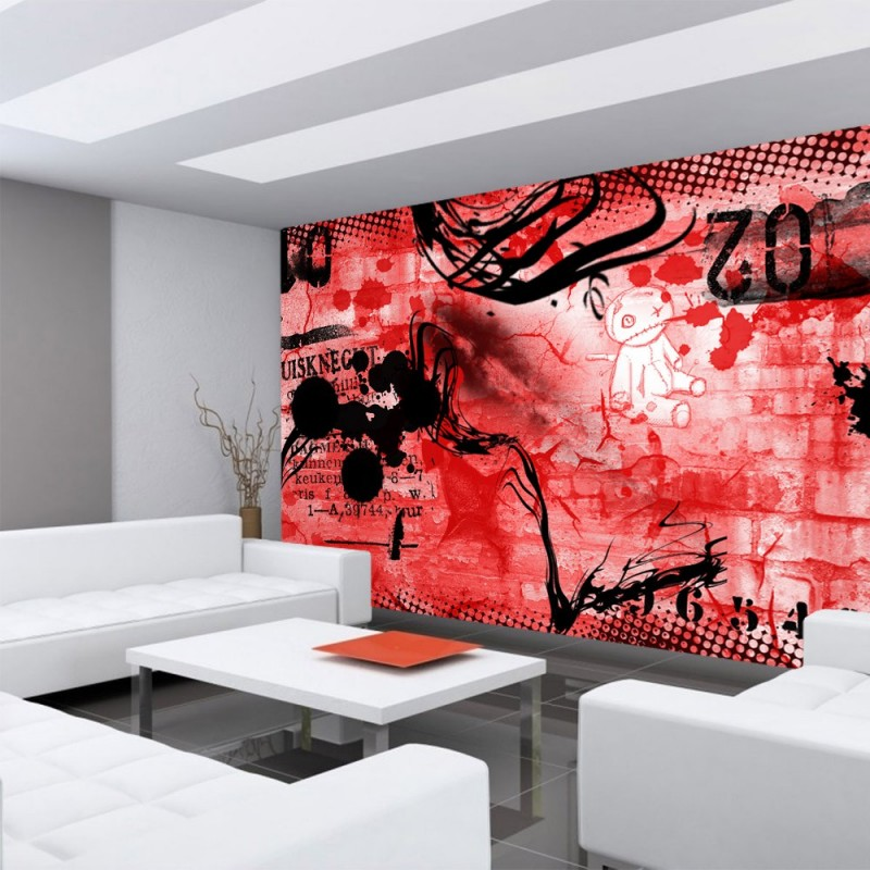 vlies fototapete red graffiti wall kindertapete tapete. Black Bedroom Furniture Sets. Home Design Ideas