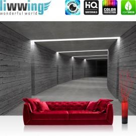 "Vlies Fototapete ""no. 2042"" | Architektur Tapete Tunnel Wand Licht Architektur Holzwand Holz grau | liwwing (R)"