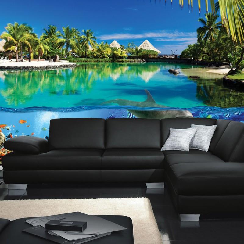 vlies fototapete no 2044 vliestapete liwwing r tiere tapete delfin fische korallen tiere. Black Bedroom Furniture Sets. Home Design Ideas