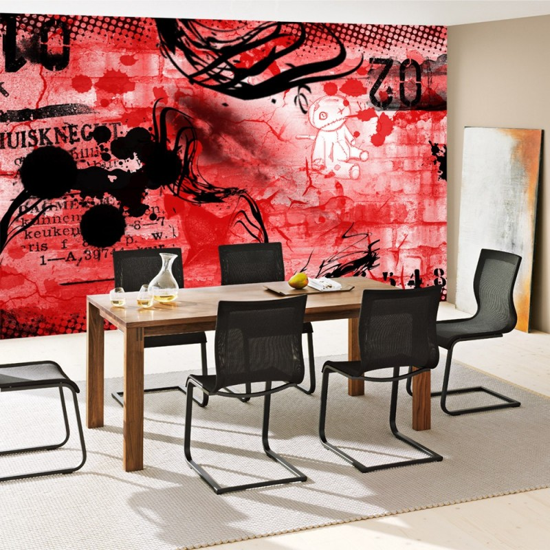 vlies fototapete red graffiti wall kindertapete tapete. Black Bedroom Furniture Sets. Home Design Ideas