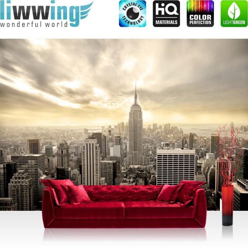 vlies fototapete manhattan skyline view usa tapete new york usa skyline sephia empire state. Black Bedroom Furniture Sets. Home Design Ideas