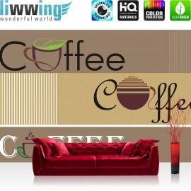 "Vlies Fototapete ""no. 2063"" | Schriftkunst Tapete Schriftzug Kaffee Coffee Tasse braun | liwwing (R)"
