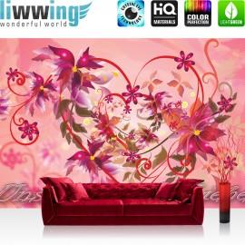 "Vlies Fototapete ""no. 2069"" | Schriftkunst Tapete Ornamente Liebe Herzen Blumen Blüten Schriftzug Ranke rosa | liwwing (R)"