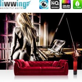 "Vlies Fototapete ""no. 2071"" | Erotik Tapete Frau Erotik Klavier Fenster Nacht schwarz | liwwing (R)"