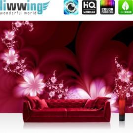 "Vlies Fototapete ""Red Flower Ornaments"" | Blumen Tapete Ornamente Blumen Orchidee Rot Blumenranke rot"