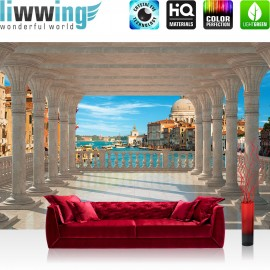 "Vlies Fototapete ""no. 2079"" | Venedig Tapete Terrasse Balkon Säulen Meer Venedig Dom Gondeln weiß | liwwing (R)"