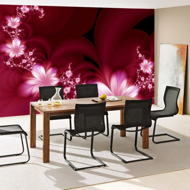 vlies fototapete red flower ornaments blumen tapete. Black Bedroom Furniture Sets. Home Design Ideas