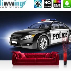 "Vlies Fototapete ""no. 2107"" | Autos Tapete Auto Car Polizei Police Spiegelung blau | liwwing (R)"