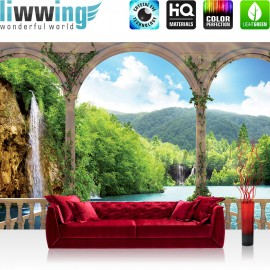"Vlies Fototapete ""no. 2109"" | Wasser Tapete See Berge Wasserfall Bogen Bäume beige | liwwing (R)"