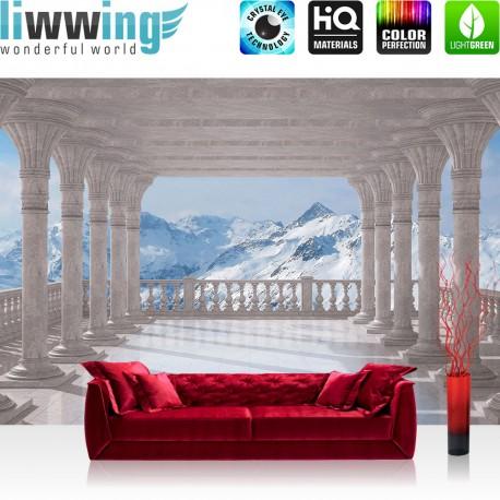 "Vlies Fototapete ""no. 2085"" | Berge Tapete Terrasse Balkon Berge Schnee Gipfel Alpen weiß | liwwing (R)"
