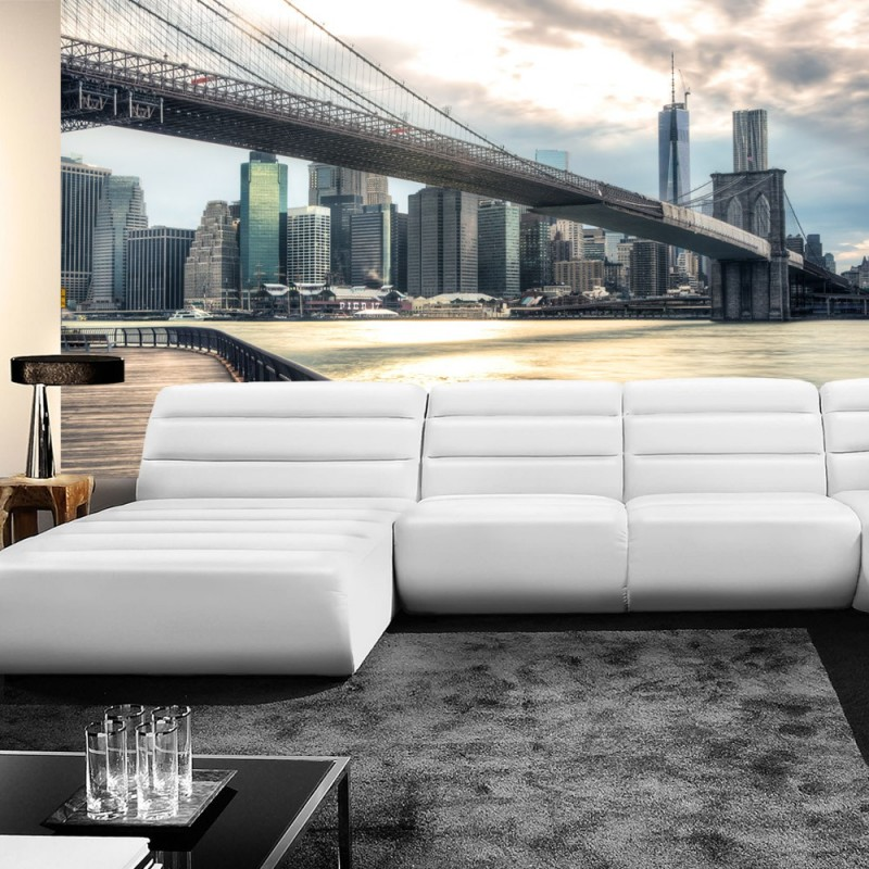 vlies fototapete new york brooklyn bridge skyline usa. Black Bedroom Furniture Sets. Home Design Ideas