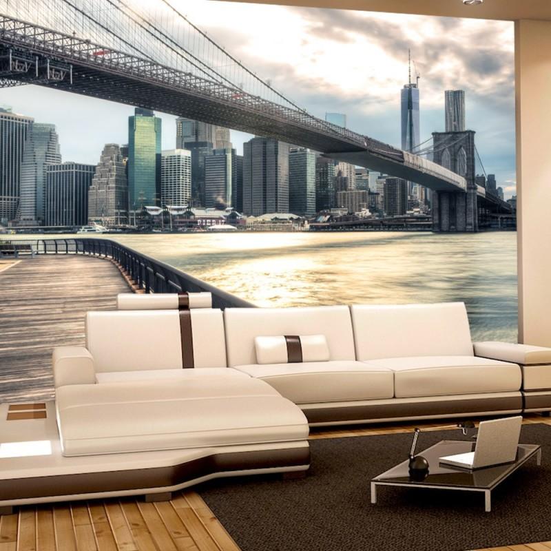 vlies fototapete new york brooklyn bridge skyline usa. Black Bedroom Furniture Sets. Home Design Ideas