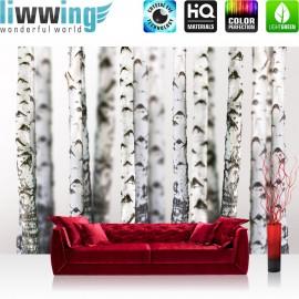 """Vlies Fototapete """"Black an White Birch Trunks""""   Wald Tapete Birkenwald 3D perspektive Birke Stämme Wald grau"""