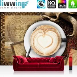 "Vlies Fototapete ""no. 2150"" | Kaffee Tapete Cappuccino Kaffeebohnen Herz London braun | liwwing (R)"