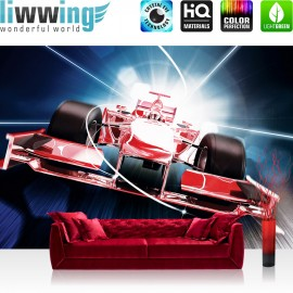 "Vlies Fototapete ""no. 2152"" | Autos Tapete Auto Formel 1 Rennwagen Speed Tunnelblick rot | liwwing (R)"