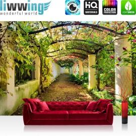 PREMIUM Fototapete - no. 47 | Way in my Garden | Garten Terrasse Blumenranken Blume 3D Perspektive