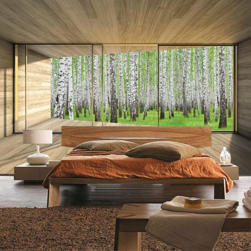 Fototapete blick aus dem fenster wald  Vlies Fototapete no. 2159 | Vliestapete liwwing (R) Holz Tapete ...