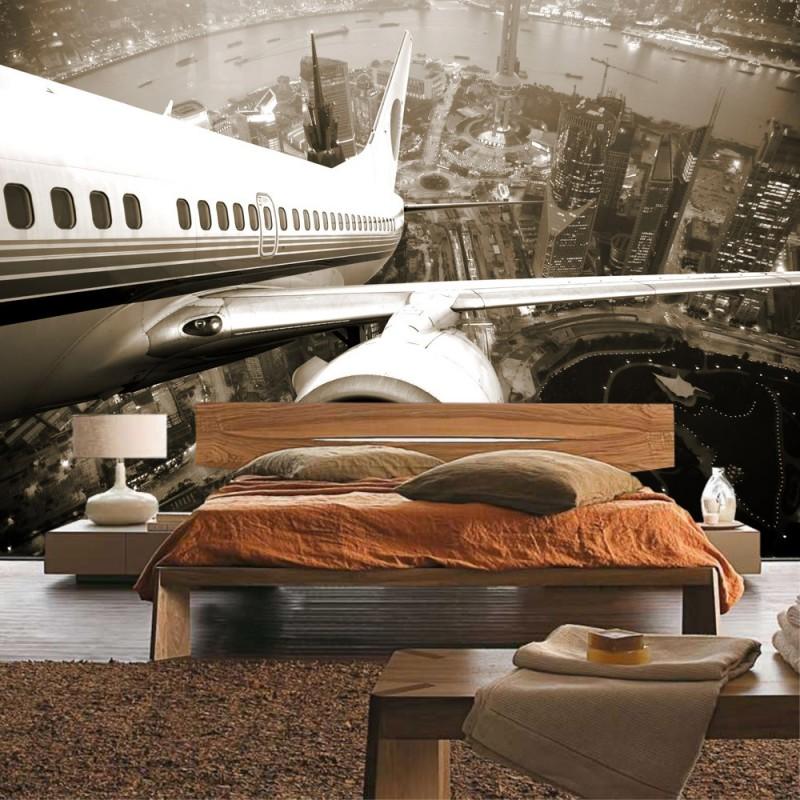 vlies fototapete skyline fligt usa tapete skyline. Black Bedroom Furniture Sets. Home Design Ideas