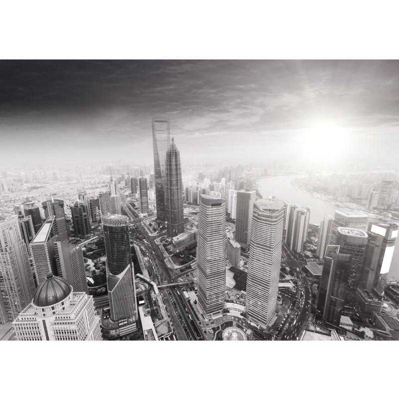 Fototapete skyline schwarz weiß  Fototapete