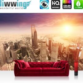"""Vlies Fototapete """"Shanghai Sunset Skyline """"   Shanhai Tapete Skyline Wolkenkratzer Hochhäuser orange"""