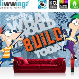 "Vlies Fototapete ""no. 2198"" | Cartoon Tapete Disney Phineas und Ferb Kindertapete bunt | liwwing (R)"