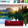 "Vlies Fototapete ""Mountain Lake View"" | Landschaft Tapete Berge See Sonnenuntergang Romantisch Bäume Wald blau"