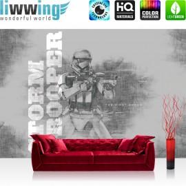 "Vlies Fototapete ""no. 2199"" | Jungen Tapete STAR WARS Storm Trooper Maske Kämpfer Gewehr grau | liwwing (R)"