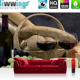 "Vlies Fototapete ""no. 2232"" | Kulinarisches Tapete Wein Baguette Gläser Weintrauben Korb Käse ocker | liwwing (R)"