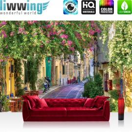 "Vlies Fototapete ""no. 2236"" | Stadt Tapete Blumen Blüten Blätter Gasse Motorrad bunt | liwwing (R)"