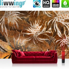 PREMIUM Fototapete - no. 57 | Grunge Floral Ornaments | abstrakt 3D Wand braun Blumen alt deko