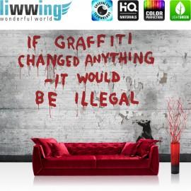 "Vlies Fototapete ""no. 2268"" | Graffiti Tapete Steinwand Steinoptik Graffiti Ratte Tier grau | liwwing (R)"