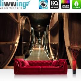 PREMIUM Fototapete - no. 58 | Old Wine Barrels | Weinkeller Weinfässer Fass Fässer Keller Stollen