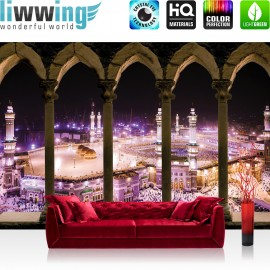 "Vlies Fototapete ""no. 2279"" | Architektur Tapete Moshee Mekka Bogen Säulen Nacht Lightning lila | liwwing (R)"