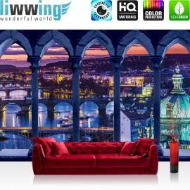 "Vlies Fototapete ""no. 2282"" | Sonnenuntergang Tapete Wasser Brücke Säulen Schiffe Lightning Sonnenuntergang blau | liwwing (R)"